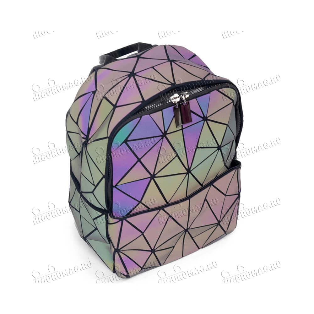 Рюкзак Хамелеон неоновый, узор геометрический на замке - 5