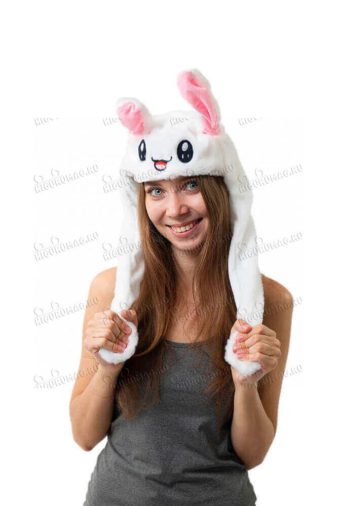 Шапка кигуруми с подвижными ушками и подсветкой Кролик белый - 2